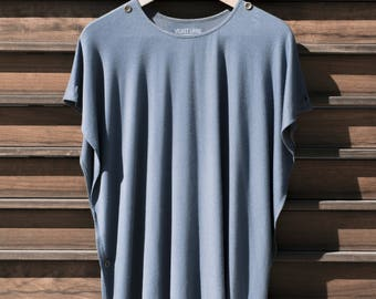 Men's Shirt, festival clothing, burning man clothing, tunic, tank, poncho, blue, bohemian, active wear, athleisure wear