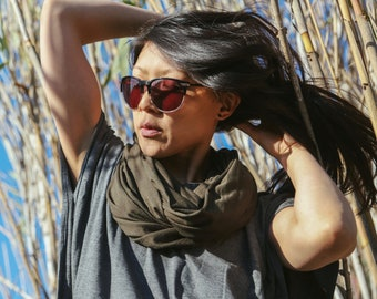Olive Green Scarf - hooded scarf - gray scarf - stretch scarf - festival scarf - summer scarf - lightweight - burning man clothing