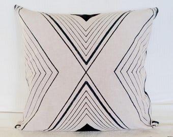 Tri Lines Chambray Cotton Block Printed Cushion