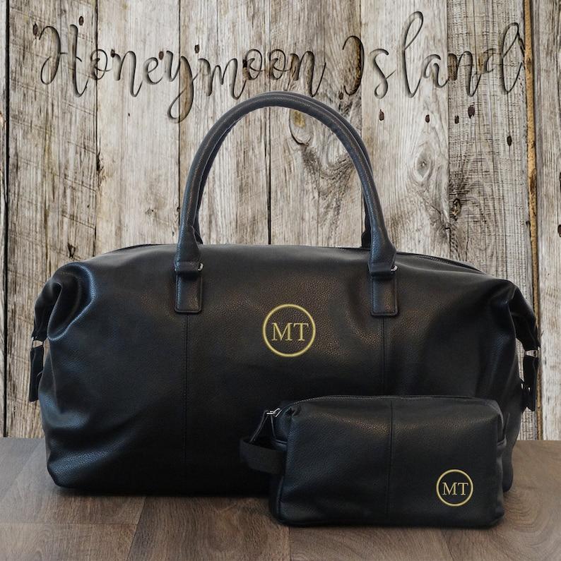 a74ddde9c0 Mens Weekender Bag Dopp Kit Set Personalised Duffle Bag