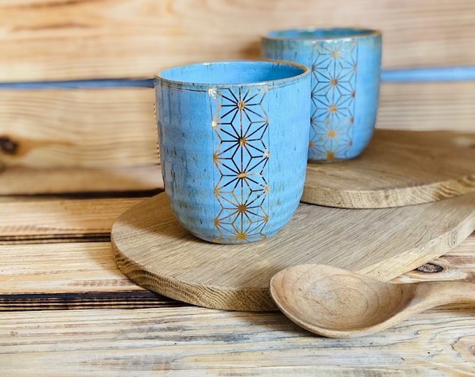 Mug drinking vessel blue in ceramic with 12% gold