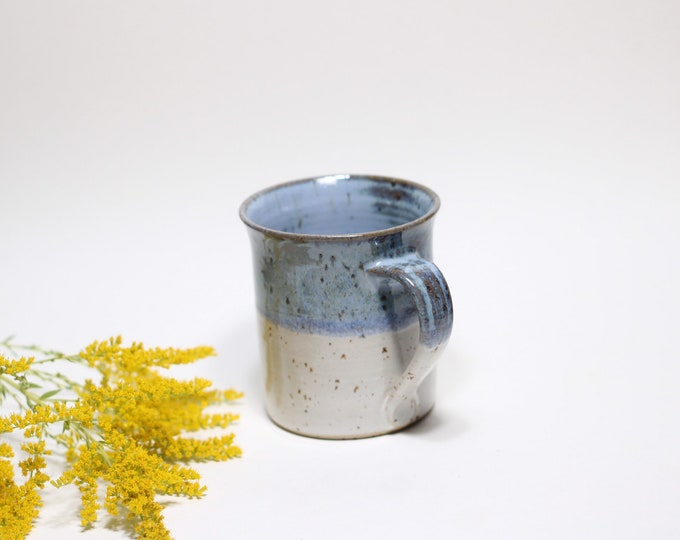 Coffee tea cup blue white ceramic for 0.4 liters