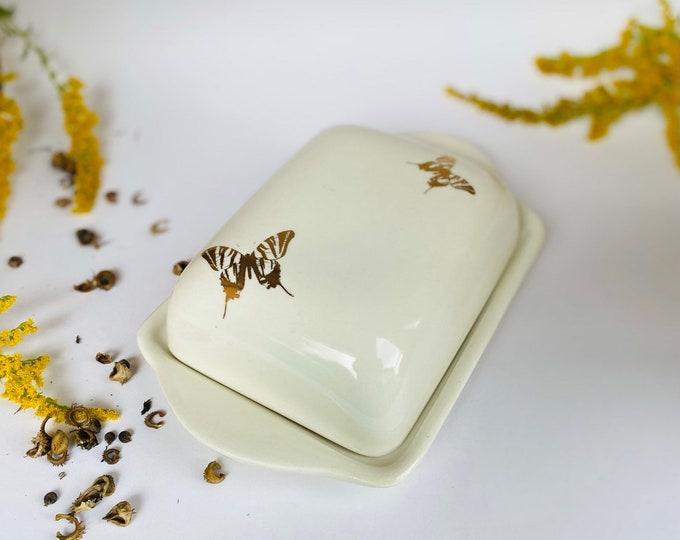 Butterdose Weiß Keramik 22 Karat
