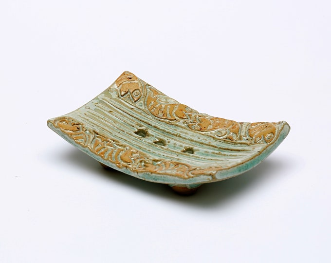 Schale für Seife Keramik grün mit Fisch