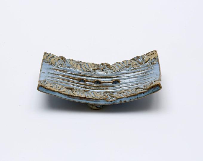 Seifenschale  blau mit Fischen aus Keramik
