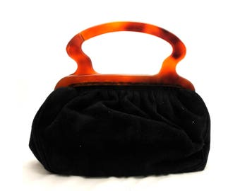 Vintage 1960s Black Suede Bag
