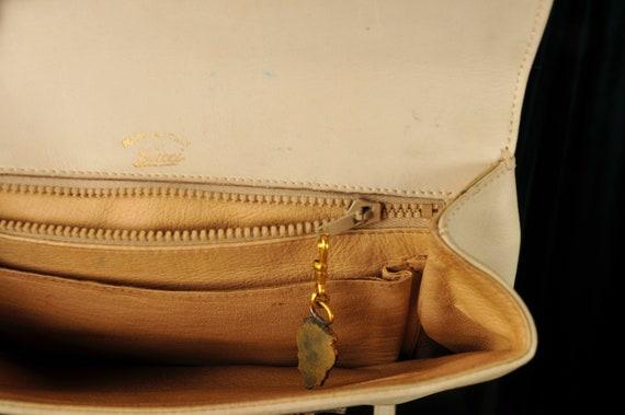 Vintage Designer 1970s Gucci Crossbody Cream Bag - image 7