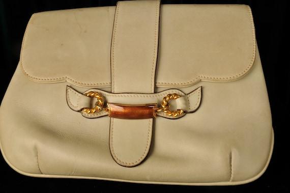 Vintage Designer 1970s Gucci Crossbody Cream Bag - image 4