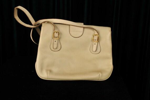 Vintage Designer 1970s Gucci Crossbody Cream Bag - image 2
