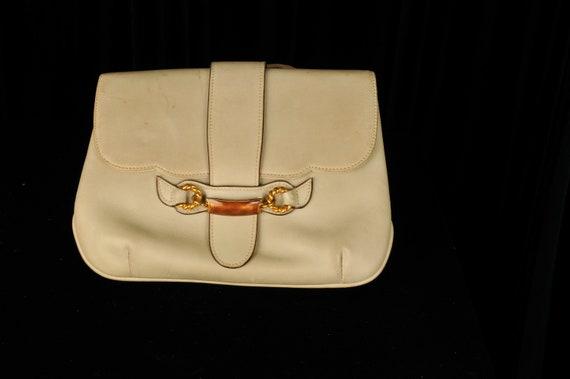 Vintage Designer 1970s Gucci Crossbody Cream Bag - image 3