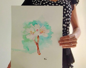 Original watercolor flower