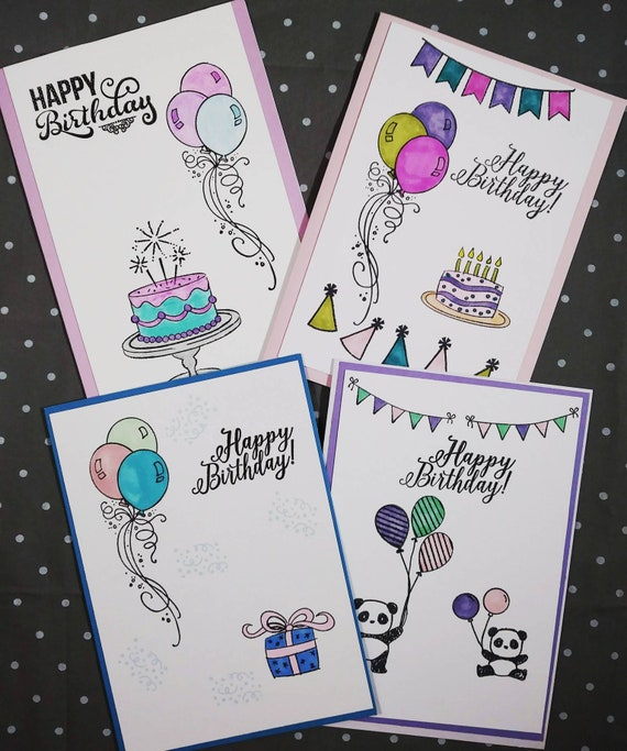 Cool Handmade Birthday Cards Handmade Birthday Card Set Greeting Etsy Personalised Birthday Cards Veneteletsinfo