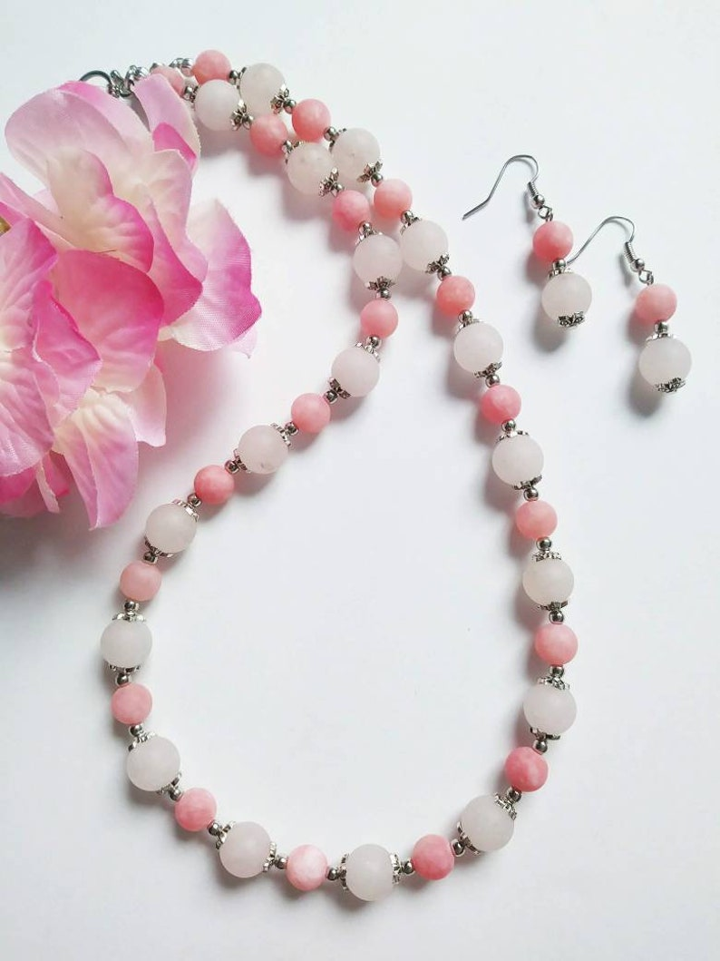 Pink bead necklace for womenpink quartz bead jewelrymatte quartz jewelry\\pink gemstone bead jewelrygift for momValentine/'s day jewelry