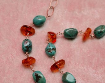 "19"" Turquoise and Amber Sterling Silver Necklace"