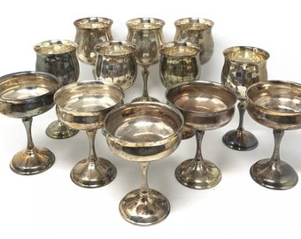 12 Vintage Silver Plated Water Wine Goblets Cups KIRK Made in Spain Wedding