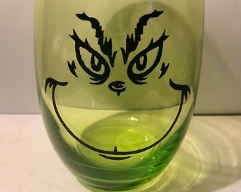 Grinch Face, green wine glass