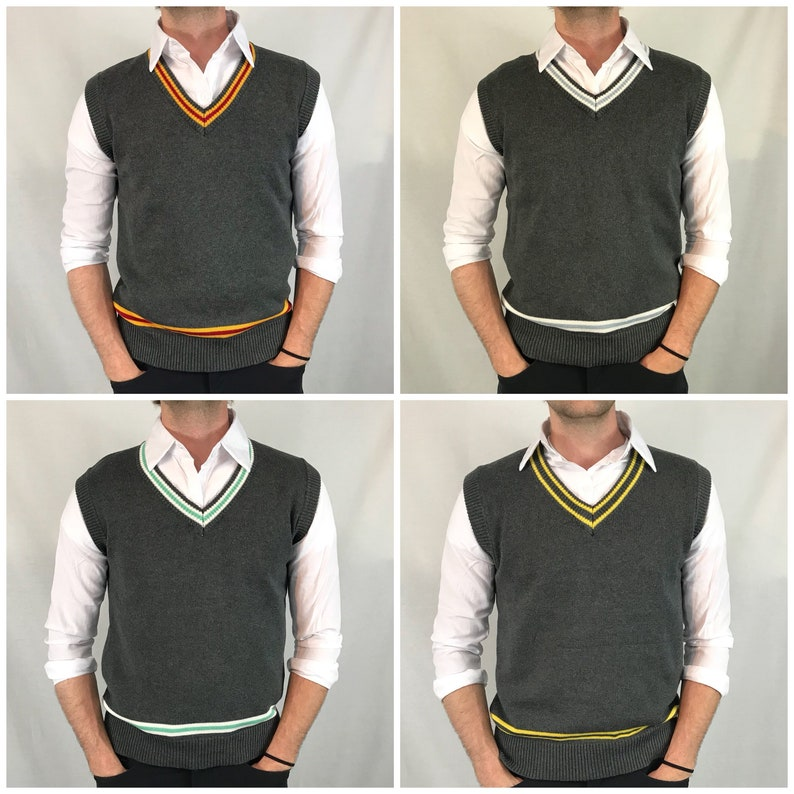 House Inspired Sweater Vest Cosplay Vests Custom Embroidery Harry Fred  Hermione Team Colors Gray Yellow Blue Red Green