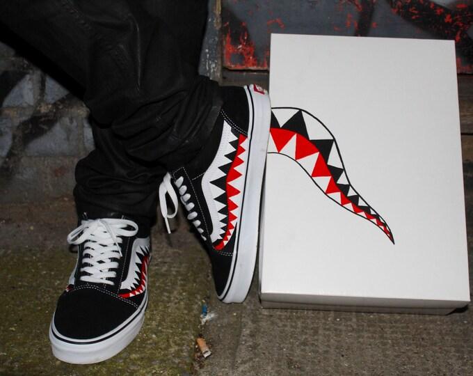 Featured listing image: Bape Shark Teeth Custom Old Skool Vans