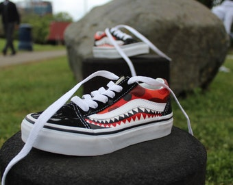 Red Camo and Bape Shark Teeth Custom Old Skool Vans - Kids