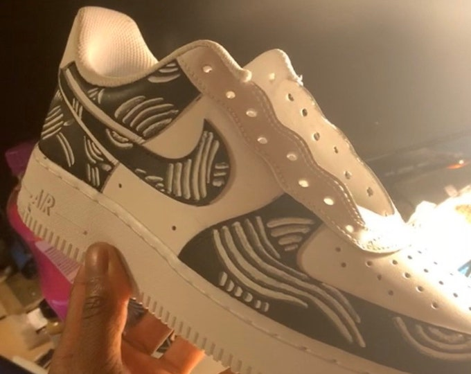 Featured listing image: Monochrome Swirl Custom Air Force 1's