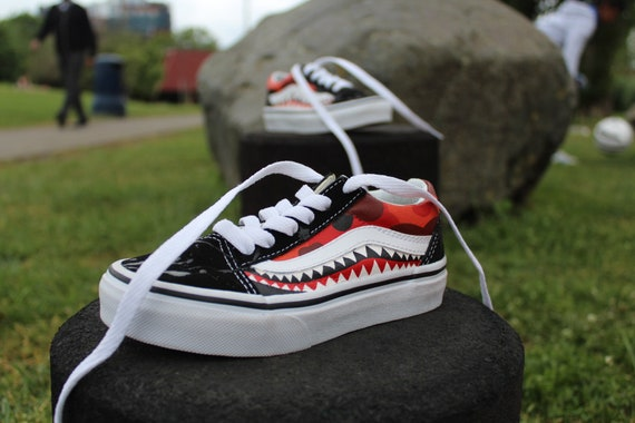 Yellow old Skool bape vans custom Shark Teeth