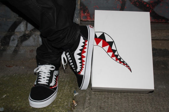 Bape Shark Teeth Custom Old Skool Vans Preorder for 2020