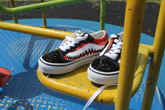 Red Camo and Bape Shark Teeth Custom Old Skool Vans ( kids )