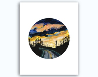 Sunset Watercolor Print
