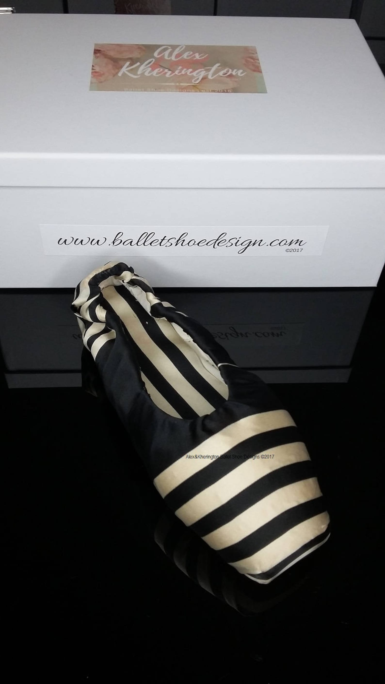 alex & kherington ballet shoe designs, decorated pointe shoes