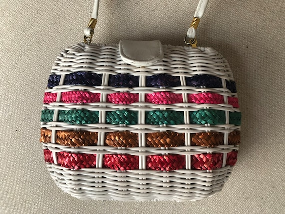 VINTAGE White Wicker Handbag