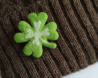 Clover Brooch Wool Felted Plant