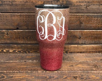 Rose Gold Ombre Glitter Dipped Tumbler