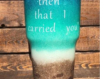 Beach Theme Glitter Dipped Tumbler
