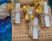 Rose Herb Smudge Stick with Crystal, 6 inches