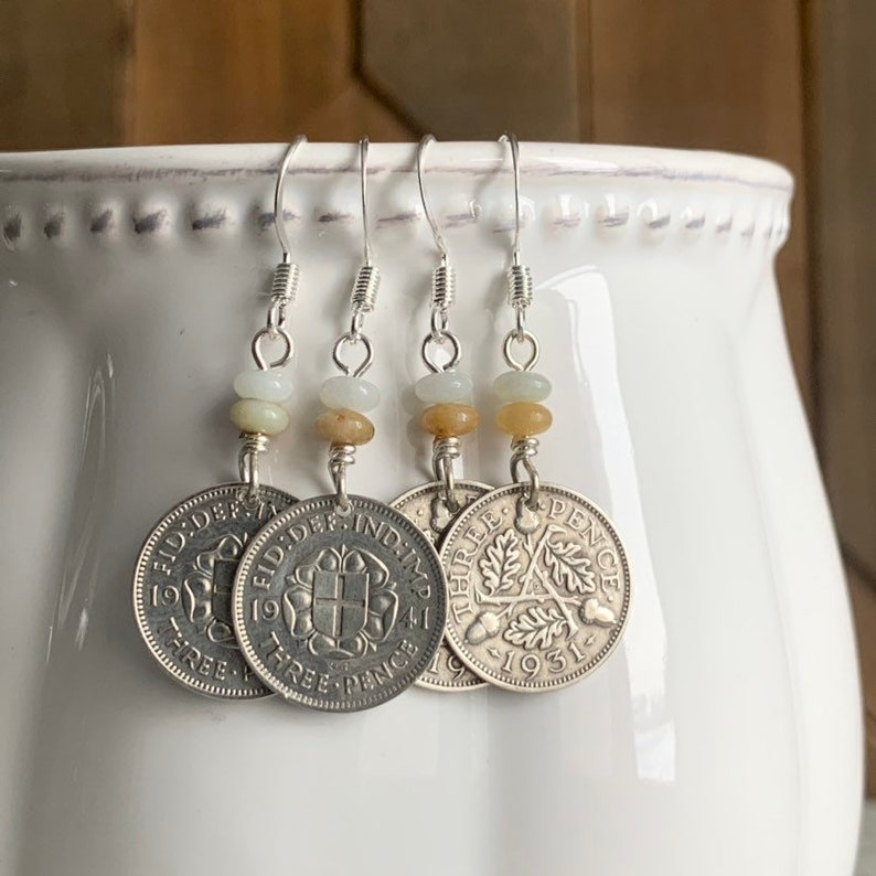 Silver Three Pence Coin Earrings Amazonite Beads British 3 Pence Coin Vintage Jewelry United Kingdom