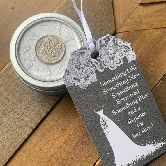 /'A Little Gift/' Themed Lucky Sixpence Coin Charm as Wedding Favours or Various