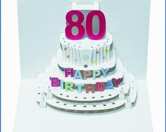 80th Birthday Handmade Laser Cut Pop Up Card POP51