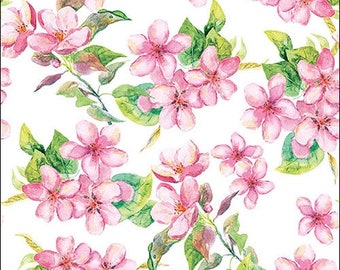 33 x 33cm 4 Individual Napkins for Craft and Napkin Art. 4 Paper Napkins for Decoupage 3-ply Cherry Blossom Rose