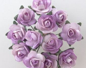 favour decoration cardmaking BurgundyCream Mini Paper Tea Roses with Wire stems Bunch of 12 for craft embellishment cake decoration