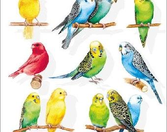 junk journaling 4 Individual Napkins for decoupage crafts Bird Watching Lila