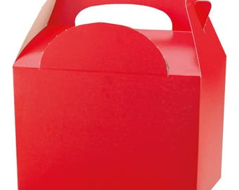 Plain Colour Party Box -  Red, Pack of 10,