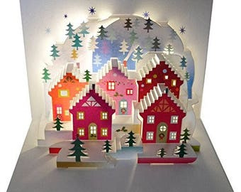 Christmas Card // Pop Up Christmas Card, Laser Cut Christmas Card, 3D Christmas Card, Blank Christmas Card, Wonder of Christmas