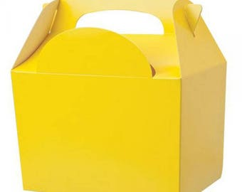 Plain Colour Party Box - Yellow, Pack of 10,