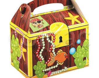 Plain Colour Party Box - Pirate's Treasure Chest, Pack of 10