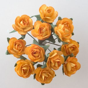 12 Paper tea Roses on wires