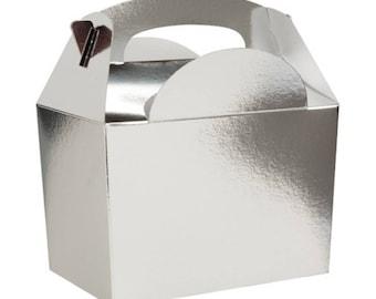Plain Colour Party Box -  Silver, Pack of 10,