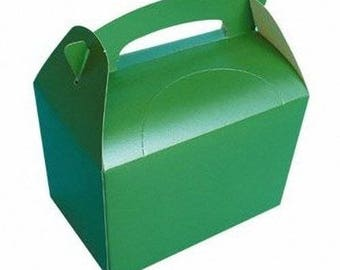 Plain Colour Party Box -  Green, Pack of 10,