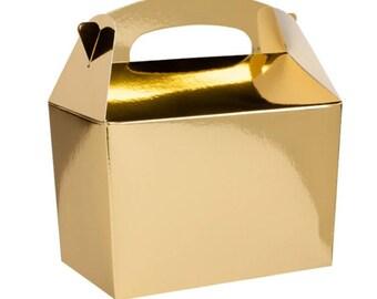 Plain Colour Party Box -  Gold, Pack of 10,