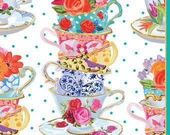 4 Paper Napkins for Decoupage - 4,  3ply 33 x 33cm Teacups