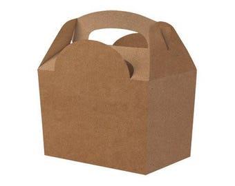 Plain Colour Party Box - Kraft Plain, Pack of 10